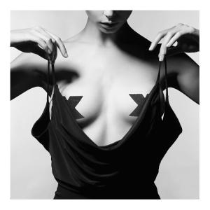 Flash Cross Nipple Stickers - Black
